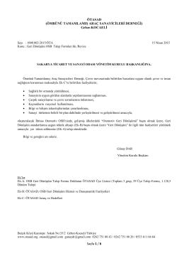 İhtisas OSB Revize Talep Formları