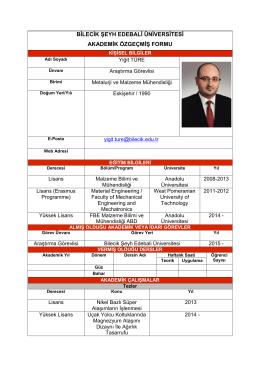 Arş. Gör. Yiğit TÜRE - Bilecik Şeyh Edebali Üniversitesi Metalurji ve