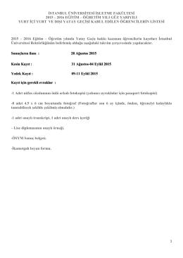 Kurumlararası Yatay Geçiş Sonuçları - İşletme Fakültesi