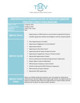 Segmentasyon ve CRM Uygulamaları