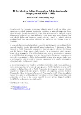 II. Karadeniz ve Balkan Ekonomik ve Politik Araştırmalar Sempozyumu