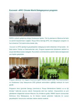 Eurovent –APIC Climate World Delegasyonun programı
