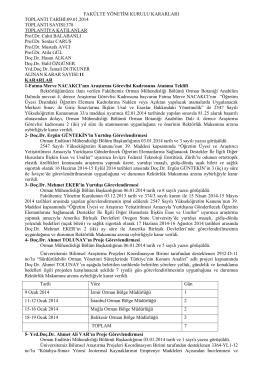 2014 yılı Fakülte Yönetim Kurulu Kararları