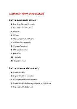 12. sınıf ders bilgileri