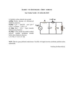 İşaret ve Sistemler 1 Ödev Sorusu