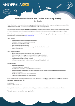 Internship Editorial and Online Marketing Turkey in Berlin