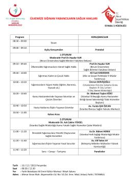 Program - İstanbul İl Sağlık Müdürlüğü