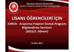 lisans öğrencileri için - Ulusal ve Uluslararası Araştırma Proje