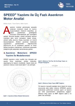 SPEED® Yazılımı ile Üç Fazlı Asenkron Motor Analizi