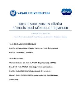 2015 11 16 Yasar Universitesi ABKAD Kibris ve
