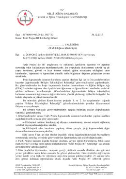 30.12.2015 tarih ve 13507730 sayılı yazısının