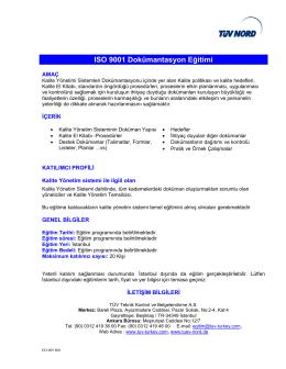 ISO 9001 Dokümantasyon Eğitimi
