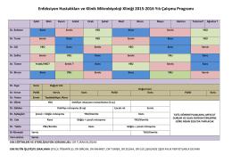 Enfeksiyon Hastalıkları ve Klinik Mikrobiyoloji Kliniği 2015‐2016 Yılı