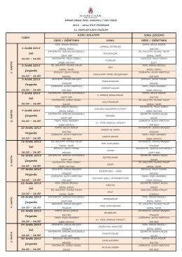 12. sınıflar aralık ayı etüt programı