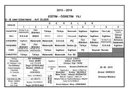 2015 – 2016 EĞİTİM – ÖĞRETİM YILI 8