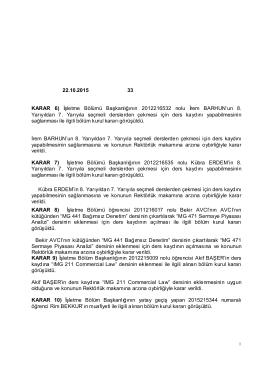 22.10.2015 33 KARAR 6) İşletme Bölümü Başkanlığının