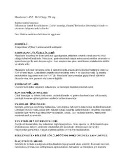 Mesalazin (5-ASA) 10-30 Supp. 250 mg. Topikal antiinflamatuar