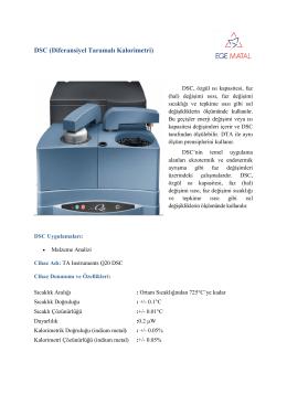 DSC (Diferansiyel Taramalı Kalorimetri) - Ege