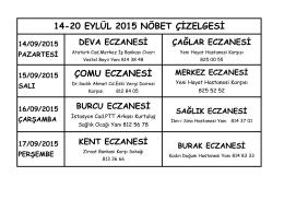 14-20 EYLÜL 2015 NÖBET ÇİZELGESİ ÇOMU ECZANESİ