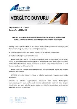 Duyuru Tarihi: 14.12.2015 Duyuru No : 2015 / 030