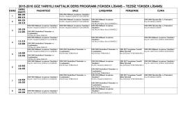 2015-2016 güz yarıyılı enstitü ortak derslerinin haftalık ders programı