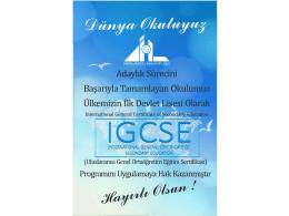 IGCSE Cambridge Uluslararası Ortaöğrenim Sertifikası