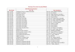 2015-2016 Güz Dönemi- Açılması Planlanan Dersler