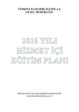 2016 Eğitim Planı