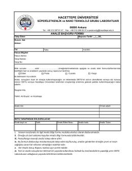 Analiz Başvuru Formu - Hacettepe Üniversitesi