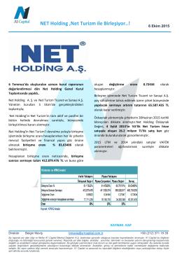 NET Holding ,Net Turizm ile Birleşiyor..!