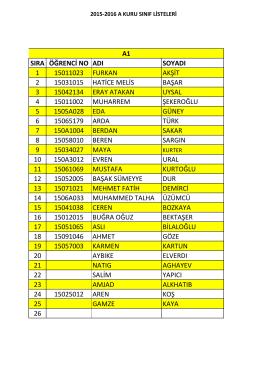2015-2016 a kuru hazırlık sınıfları