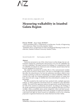 Measuring walkability in Istanbul Galata Region