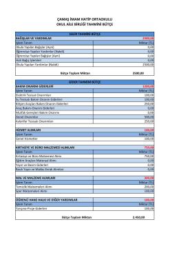 Tahmini Bütçe Raporu Eklenmiştir.