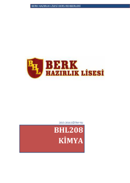 BHL208 KİMYA - Berk Hazırlık Lisesi