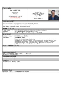 CV indir - Ferhat MUTLU