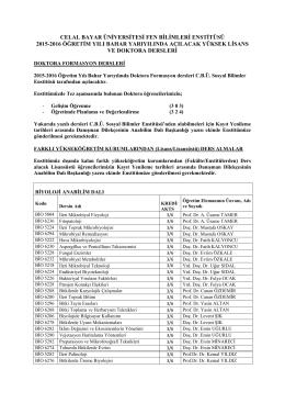 07.Oca.16 :: Duyuru 2015-2016 Bahar Yarıyılı Anabilim Dalları`nda