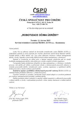 robotizace očima údržby - Česká společnost pro údržbu