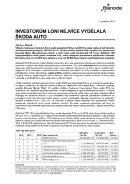 Investorům loni nejvíce vydělala Škoda auto | tisková zpráva Bisnode