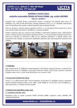 Vyhláška o konání aukce osobního automobilu ŠKODA