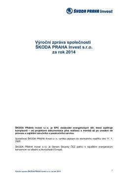 Výroční zpráva 2014 - ŠKODA PRAHA Invest