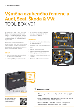 Výměna ozubeného řemene u Audi, Seat, Škoda & VW: TOOL BOX