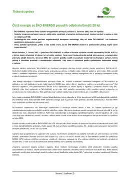 Tisková zpráva Čistá energie ze ŠKO