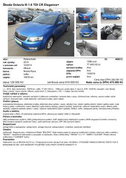 Škoda Octavia III 1.6 TDI CR Elegance+
