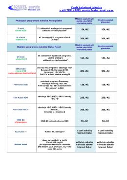 Ceník KABEL servis Internet
