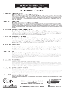 Program FK - LÉTO 2015 - Filmový Klub Sedlčany
