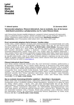 7. tisková zpráva LFŠ 2015 - Letní filmová škola Uherské Hradiště
