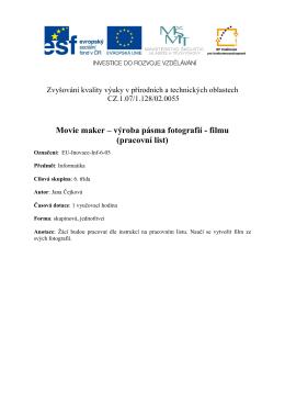 Movie maker – výroba pásma fotografií