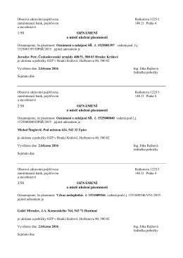 1/50 OZNÁMENÍ o místě uložení písemnosti 2/50 OZNÁMENÍ o