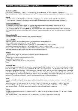 Předpis kategorie soutěže 2. liga 2015/16
