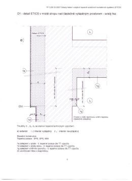 01 - detail ETICS v místě stropu nad částečně vytápěným prostorem